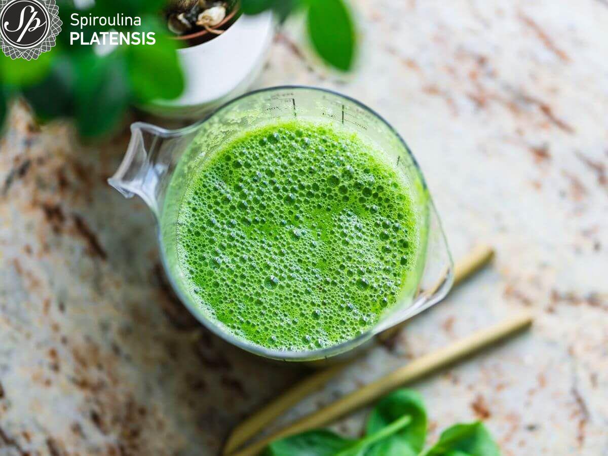 Ποτήρι με πράσινο smoothie με φόντο γκρι μαρμάρινο πάγκο