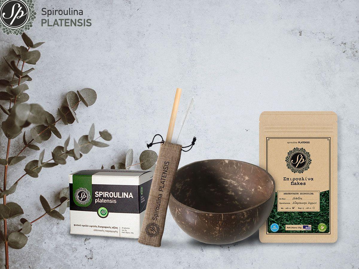 Spiroulina PLATENSI Σε Σκόνη & flakes, ένα Coconut Vegan Boolw