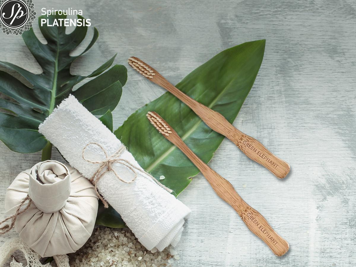Bamboo οδοντόβουρτσα σε πράσινο φύλλο