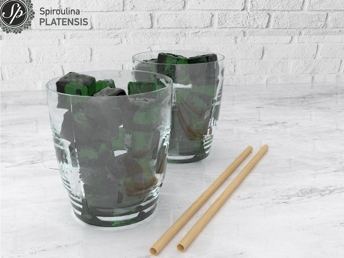 Πράσινα παγάκια με spiroulina PLATENSIS και bamboo καλαμάκια