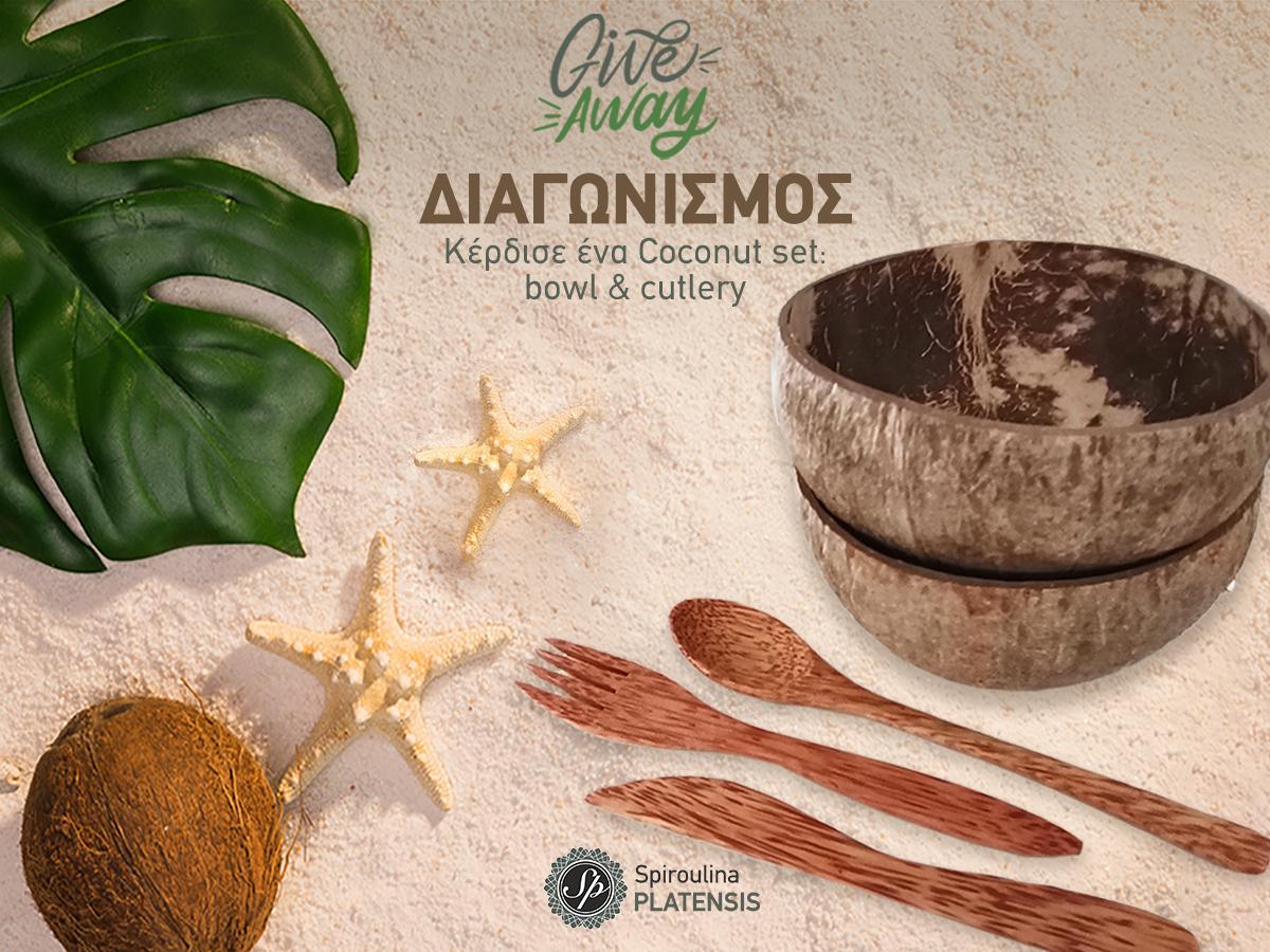 Coconut bowl & cutlery σε καλοκαιρινό φόντο με καρύδα και αστερία