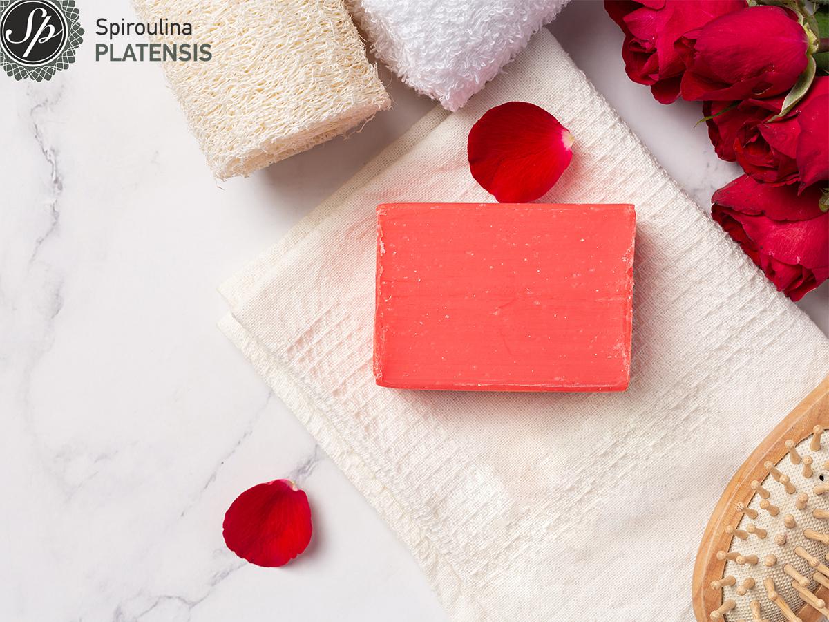 Κόκκινο φυσικό χειροποίητο σαπούνι από ελαιόλαδο με εκχύλισμα τριαντάφυλλου σε μαρμάρινο φόντο και με τριαντάφυλλα΄δεξιά του
